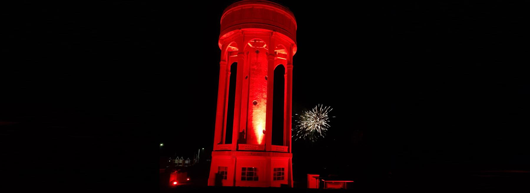 Tilehurst Tower lit up for Armistice